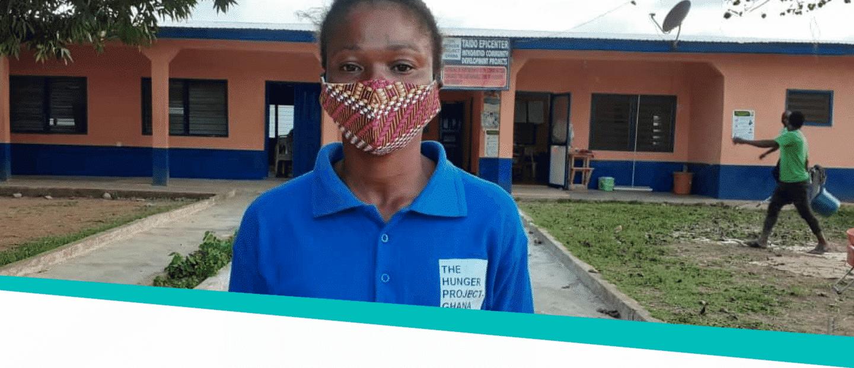 Vrouw-met-mondkapje-Ghana-The-Hunger-Project-corona-en-honger